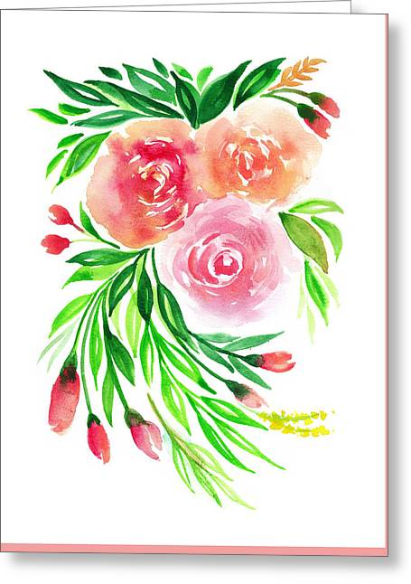 Pink Peach Rose Flower In Watercolor Greeting Card by My Art