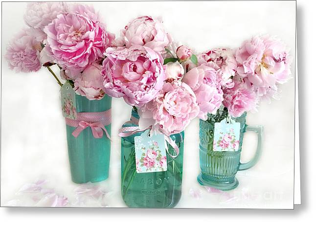 Pink Peonies In Aqua Vases Romantic Watercolor Print - Pink Peony Home Decor Wall Art Greeting Card by Kathy Fornal