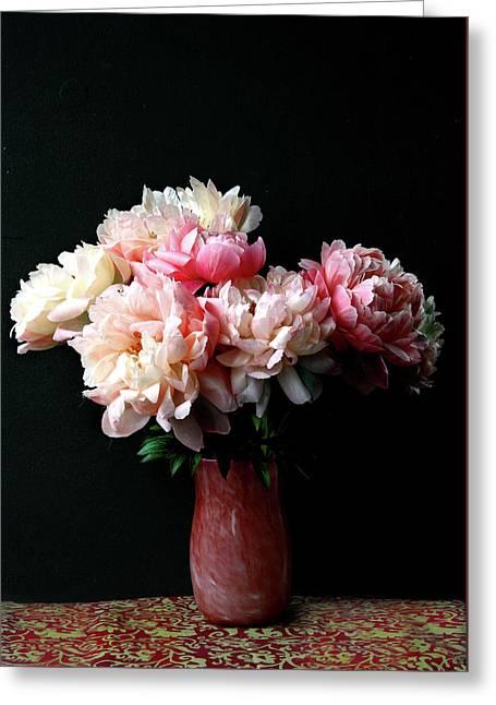 Pink Peonies In Pink Vase Greeting Card