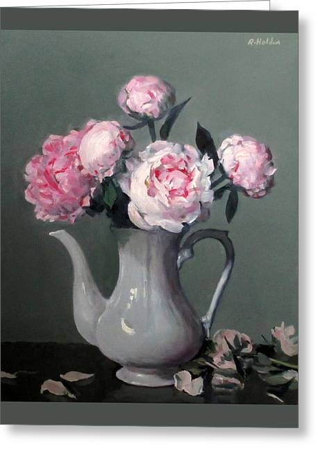 Pink Peonies In White Coffeepot Greeting Card