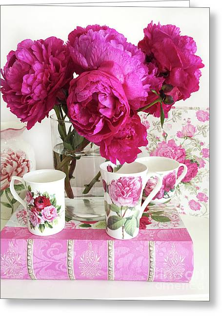 Pink Peonies, Red Peonies, Peony Flowers, Peonies Peony Teacups Kitchen Art Home Decor Greeting Card