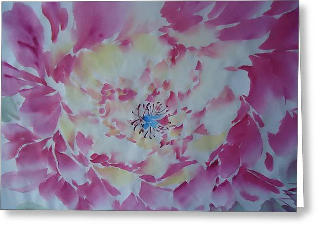Pink Peony 002 Greeting Card by Dongling Sun