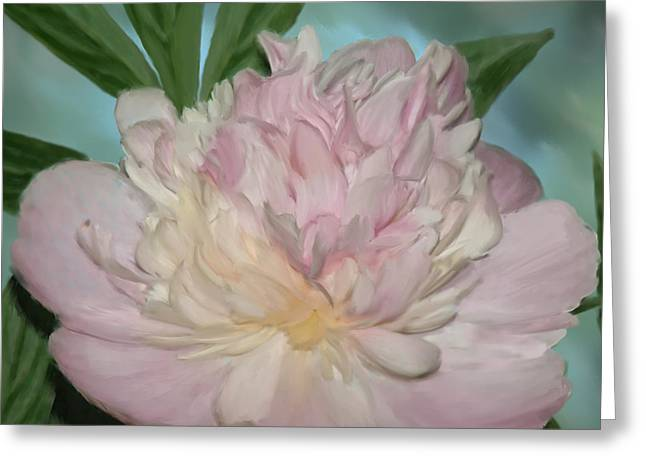Pink Peony Greeting Card by Elzire S