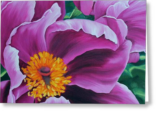 Pink Peony Greeting Card by Jindra Noewi
