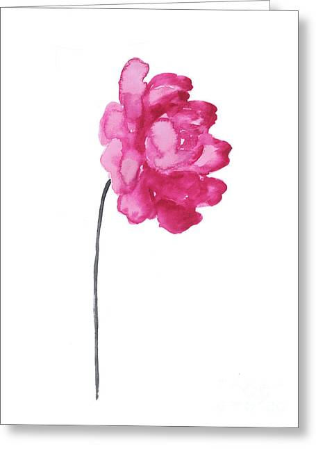 Pink Peony, Nursery Decor Wall Art Print, Abstract Illustration Greeting Card