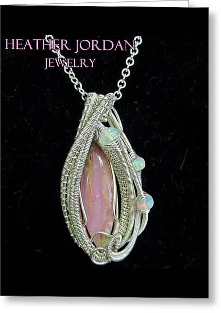Pink Peruvian Opal Pendant In Sterling Silver With Ethiopian Welo Opals Pposs3 Greeting Card by Heather Jordan