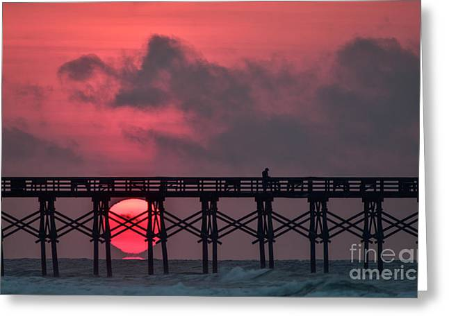 Greeting Card featuring the photograph Pink Pier Sunrise by DJA Images
