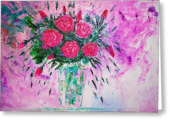 Greeting Card featuring the painting Pink by Piety Dsilva
