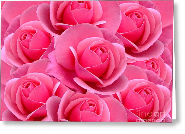 Pink Pink Roses Greeting Card