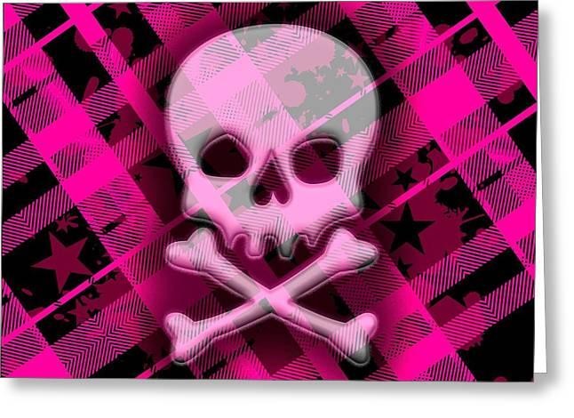 Pink Plaid Skull Greeting Card by Roseanne Jones