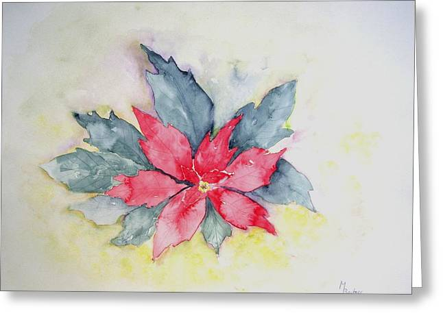 Pink Poinsetta On Blue Foliage Greeting Card