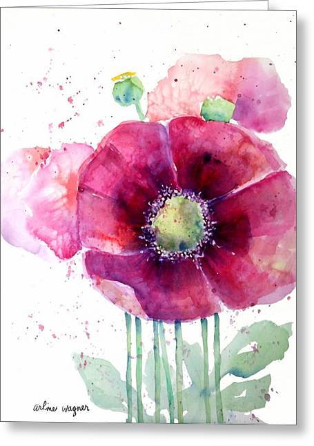 Pink Poppies Greeting Card by Arline Wagner