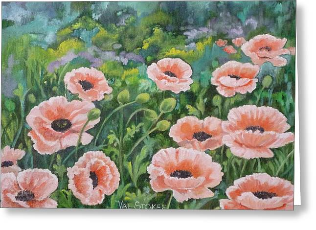 Pink Poppies Greeting Card by Val Stokes