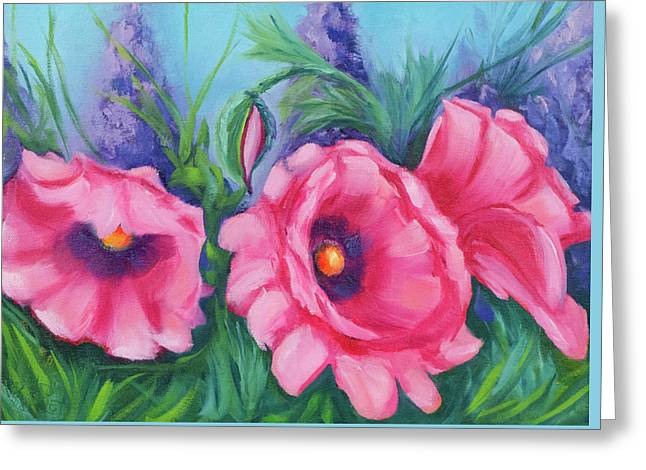 Pink Poppy Field Greeting Card