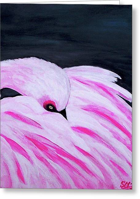 Greeting Card featuring the painting Pink Primping Flamingo by Sonya Nancy Capling-Bacle