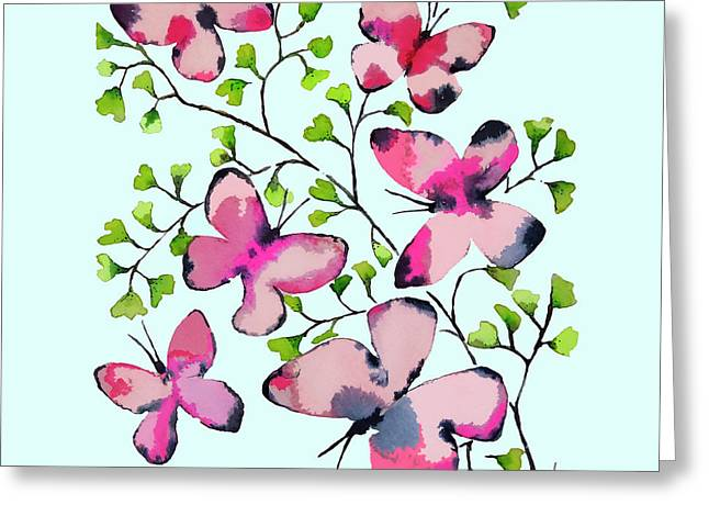 Pink Profusion Butterflies Greeting Card