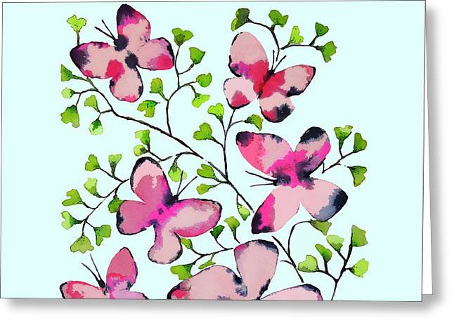 Pink Profusion Butterflies Greeting Card by Roleen Senic