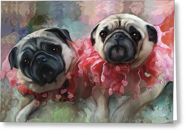 Pink Pug Princesses On Parade Greeting Card by Elizabeth Murphy