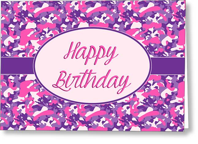 Greeting Card featuring the digital art Pink Purple Camo Birthday by JH Designs