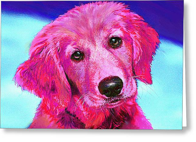 Pink Retriever Greeting Card by Jane Schnetlage