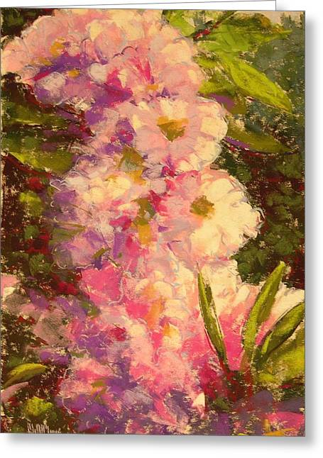 Pink Rhodies Greeting Card by Mary McInnis
