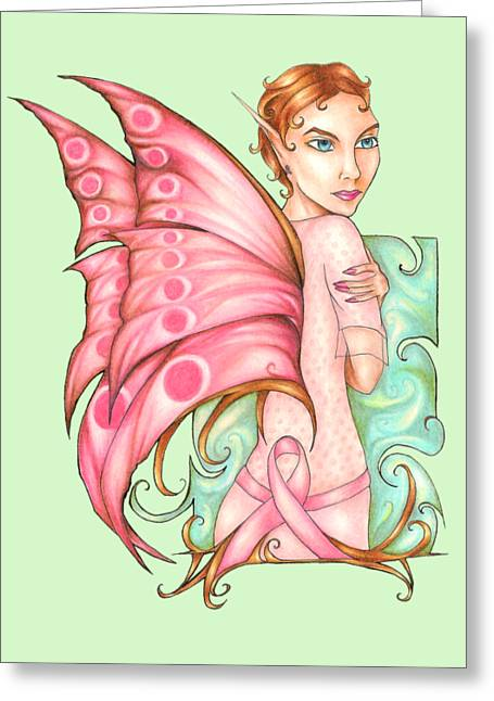 Pink Ribbon Fairy For Breast Cancer Awareness Greeting Card by Kristin Aquariann