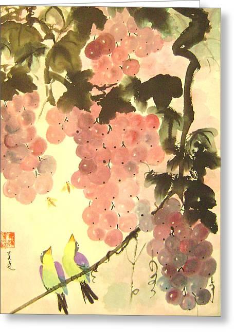 Pink Romance Greeting Card by Lian Zhen