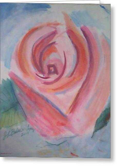 Pink Rose Greeting Card by Jamey Balester