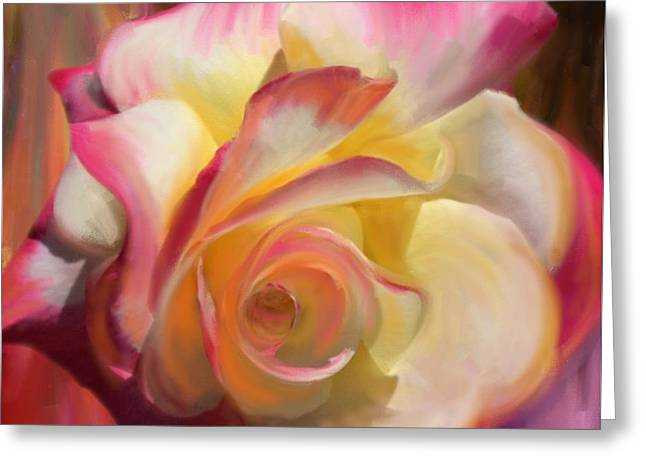Pink Rose Greeting Card by Julianne  Ososke