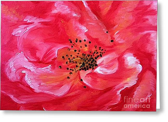 Pink Rose Greeting Card by Sheron Petrie
