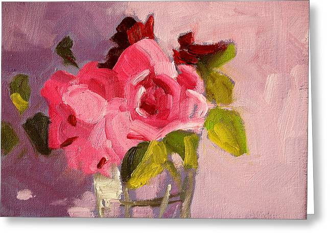 Pink Roses 3 Still Life Painting Greeting Card by Nancy Merkle