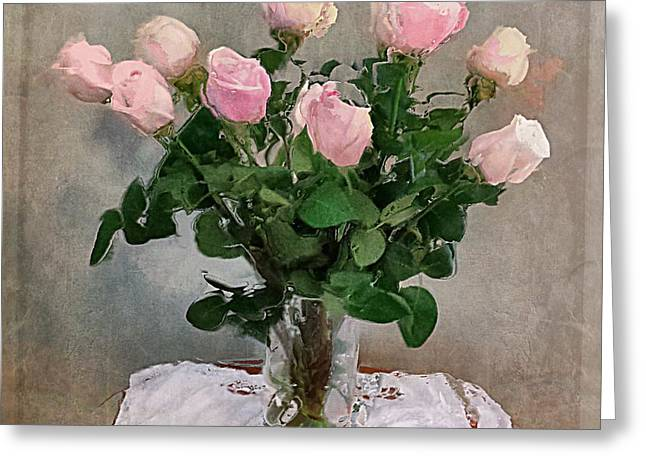Pink Roses Greeting Card by Alexis Rotella