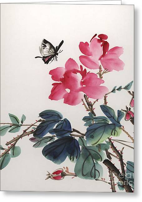 Pink Roses And Butterfly Greeting Card by Yolanda Koh