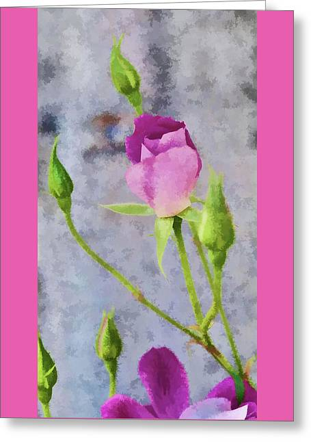 Pink Roses Artistic I Painterly Greeting Card by Linda Brody