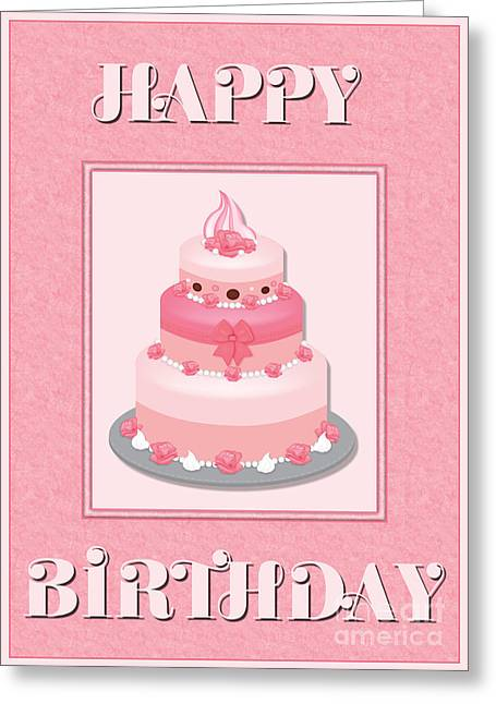 Greeting Card featuring the digital art Pink Roses Birthday Cake by JH Designs