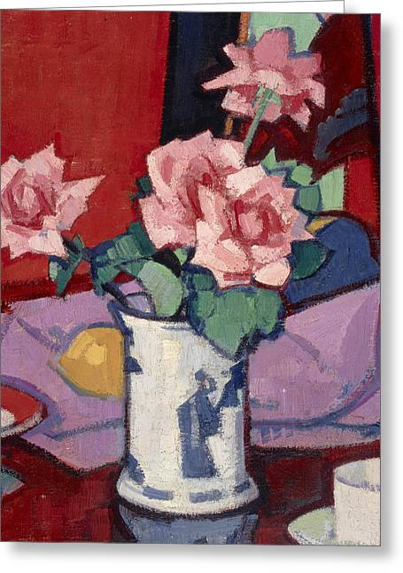 Pink Roses, Chinese Vase Greeting Card by Samuel Peploe