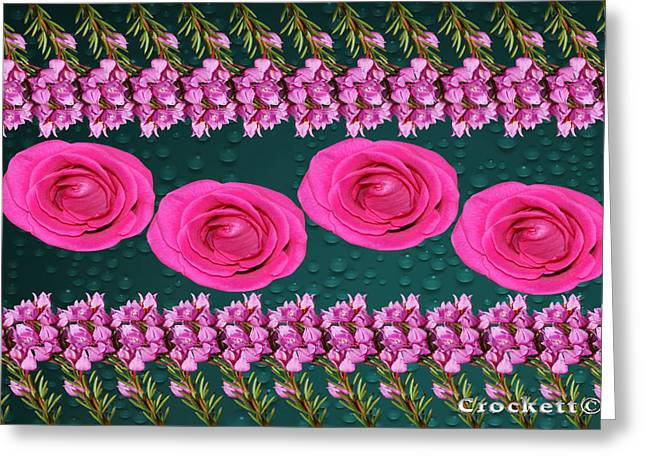 Greeting Card featuring the photograph Pink Roses Floral Display by Gary Crockett