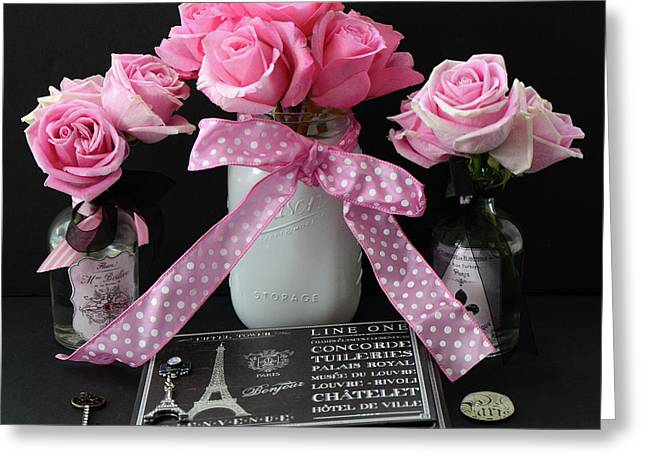 Greeting Card featuring the photograph Pink Roses French Decor - Pink And Black Parisian Wall Art - Pink Roses French Home Decor by Kathy Fornal