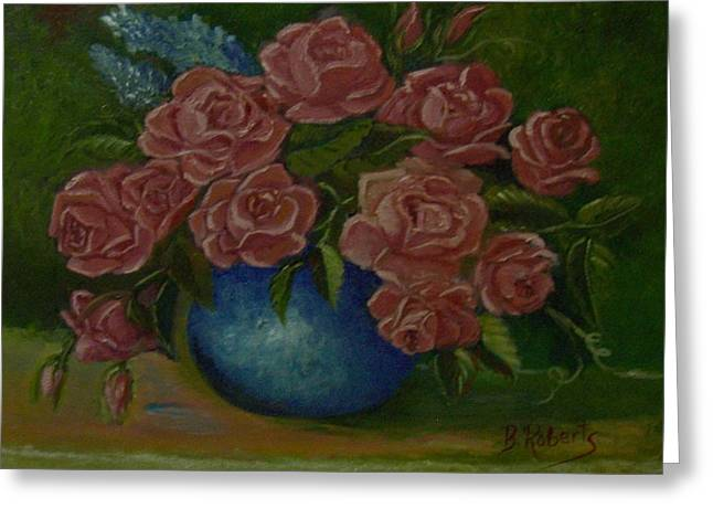 Pink Roses In A Blue Vase Greeting Card