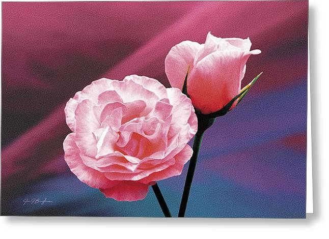 Pink Roses Greeting Card by Jan Baughman