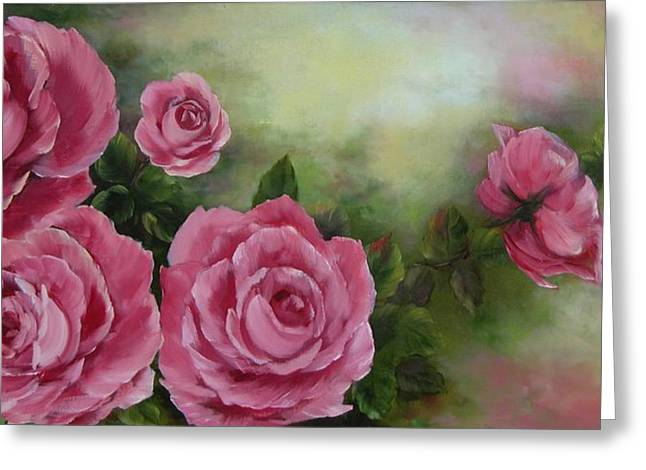 Pink Roses Greeting Card by Joni McPherson