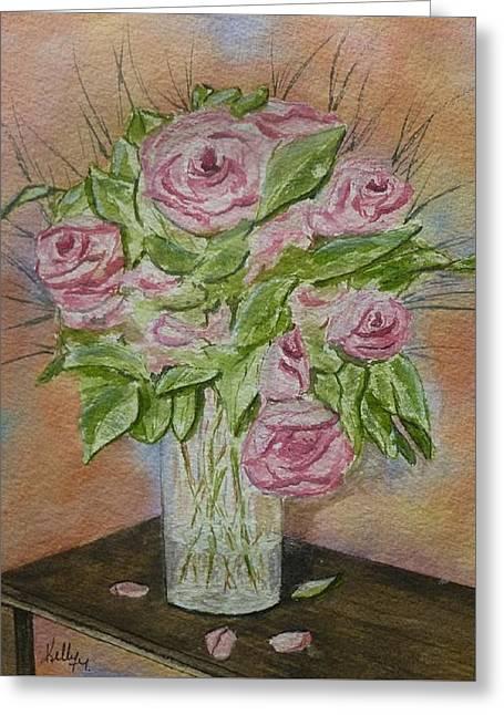 Pink Roses Greeting Card