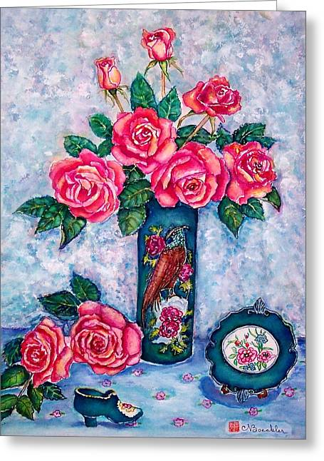 Pink Roses Greeting Card by Norma Boeckler