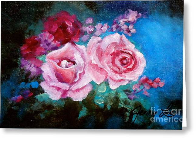 Pink Roses On Blue Greeting Card by Jenny Lee