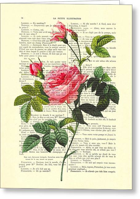 Pink Roses, Valentines Gift Greeting Card