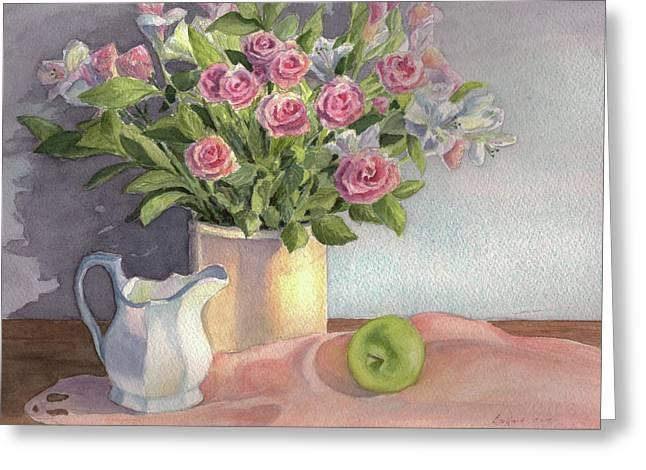 Pink Roses Greeting Card by Vikki Bouffard