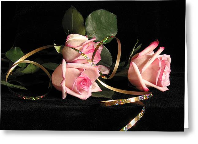 Pink Roses With Ribbon Greeting Card by Janice Paige Chow
