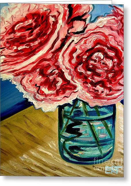 Pink Ruffled Peonies Greeting Card by Elizabeth Robinette Tyndall
