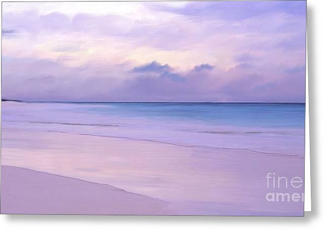 Pink Sand Purple Clouds Beach Greeting Card