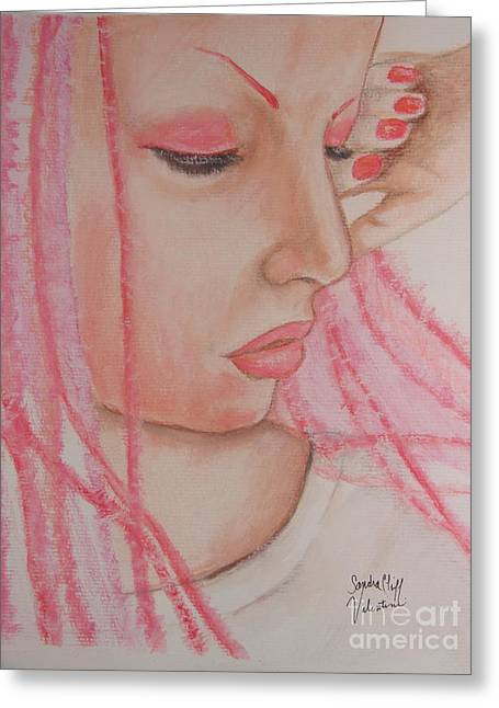 Pink Greeting Card by Sandra Valentini